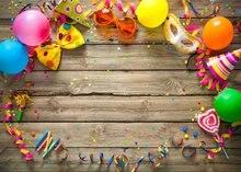 Balão colorido carnaval partido do quadro do vintage de madeira marrom Vinil pano de impressão Computador Fundos do partido Festa de Aniversário