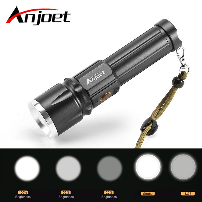Anjoet flashlight Zoomable Ultra Bright torch CREE XML-T6 LED 5 lighting Modes Zoom torch USB charge for 18650 or 26650 battery