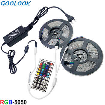 12V LED Strip 5M 5050 RGB Tape Non Waterproof  10M LED Light Ribbon Flexible RGB diode LED Lamp tape Remote Control+Power supply - DISCOUNT ITEM  30% OFF All Category