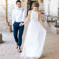 Sexy Halter Backless Floor Length Lace Beach Boho Wedding Dress 2017 Ivory Bohemian Wedding Dress Online