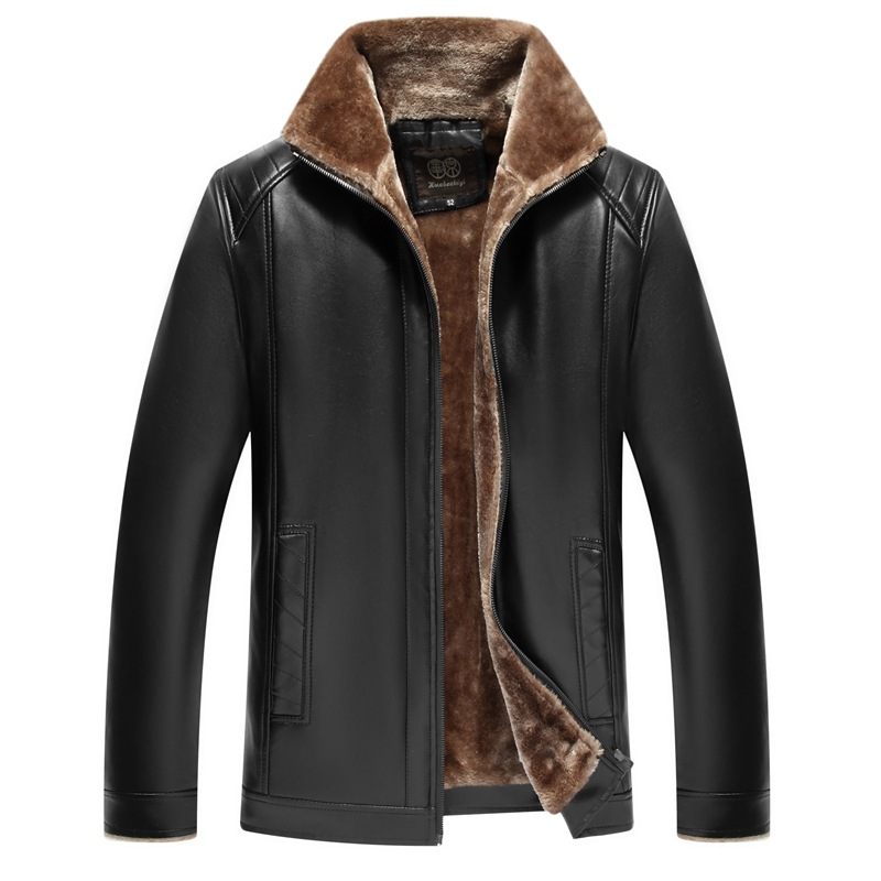 Men Leather Jacket Winter Male PU Jacket Flocking Fur Coat Boy Winter Outerwear 50 52 54 56 58 60