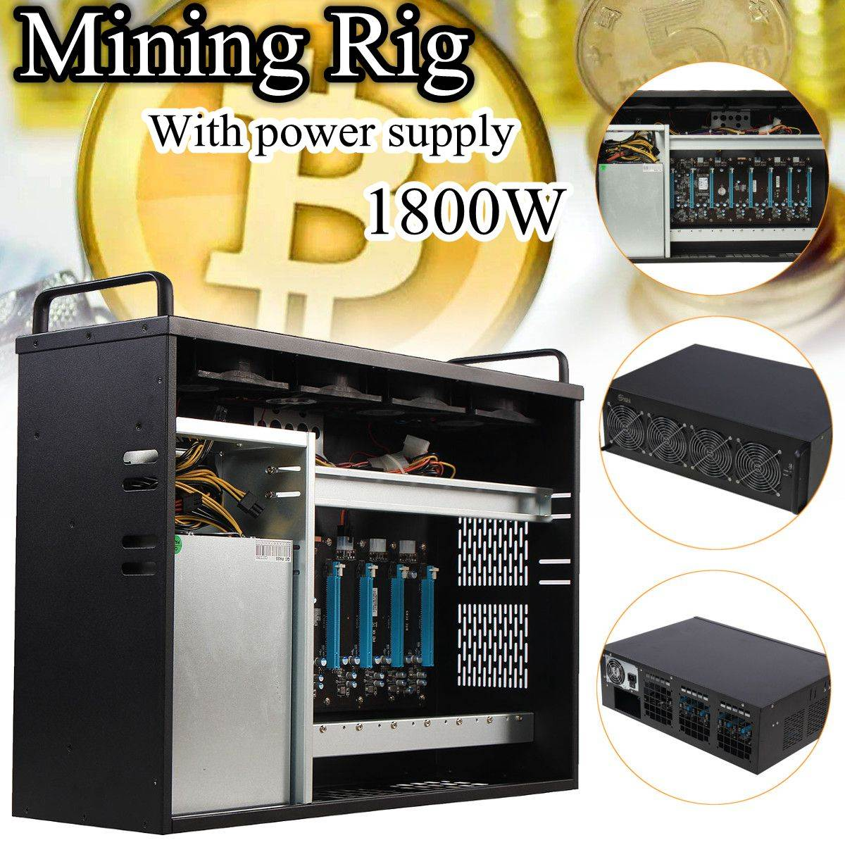 Mining Rig Miner Mining Machine Chassis Mounting BTC IC6S Motherboard Supporting Up To 8 GPU Without Power Supply btc 6411