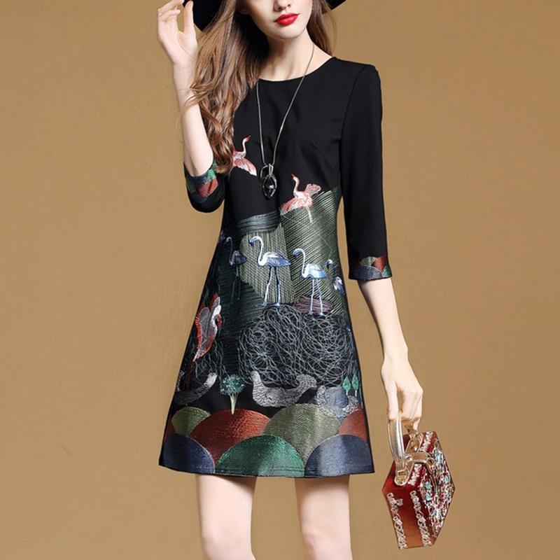Zarachiel High Quality Embroidery Dress Women Casual O Neck Flower Bird Embroidered Slim Vintage Black A Line Dress Plus Size