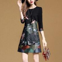 Zarachiel, высококачественное платье с вышивкой, женское Повседневное платье с круглым вырезом, цветочной вышивкой и птицей, тонкое винтажное черное платье трапециевидной формы размера плюс