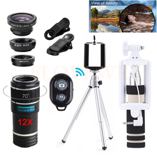 Promo offer 12in1 12X Zoom Telephoto Lens Telescope Fisheye Wide Angle Macro Lentes Microscope With Selfie Stick Clips Tripod For Cell Phone
