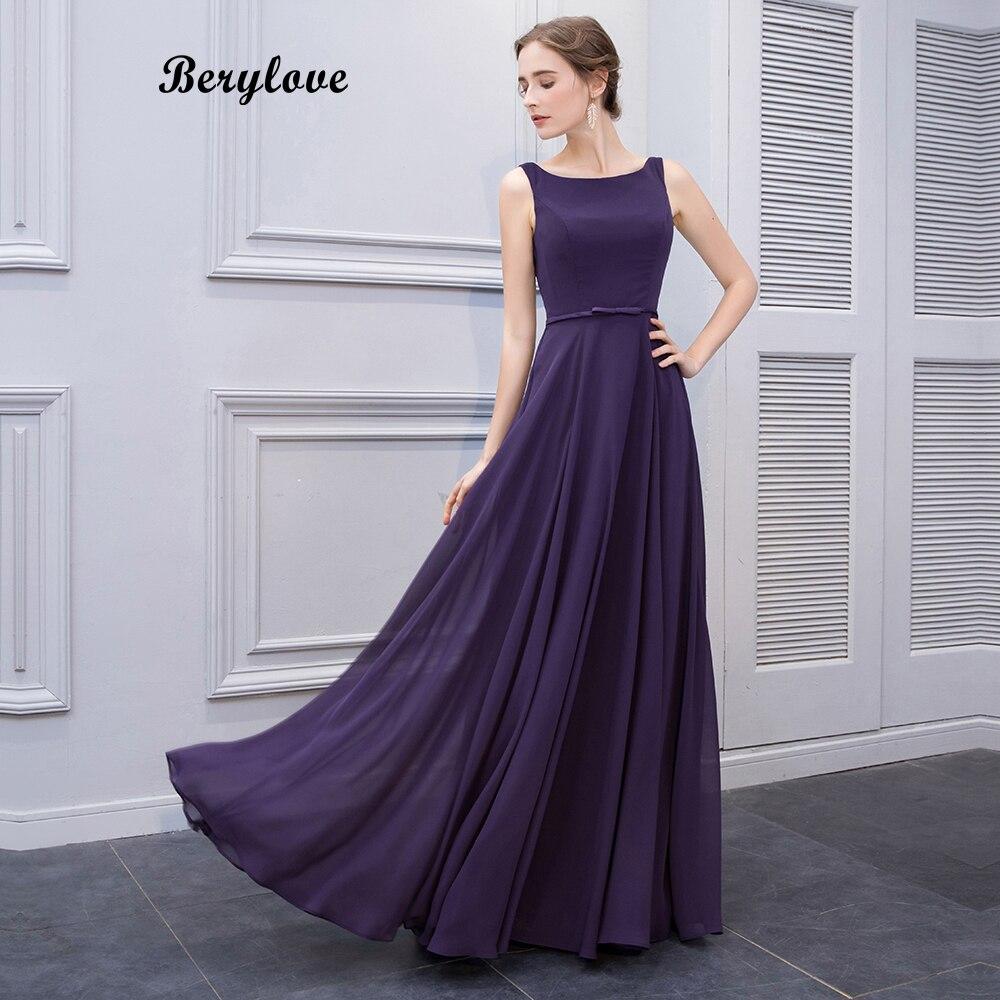 BeryLove Simple Purple Long Prom Dresses Styles Chiffon Evening Dresses  Open Back Formal Evening Gowns Elegant 50926c7ec5ad