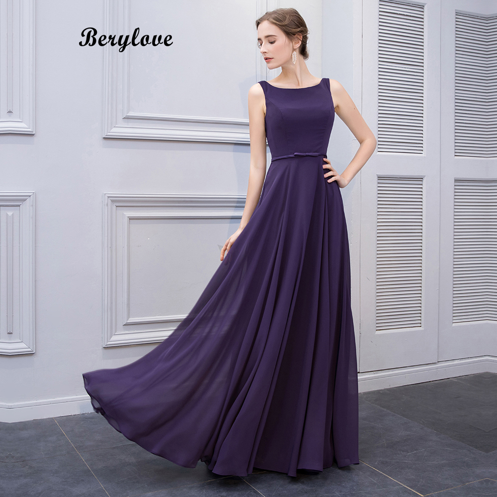 BeryLove Simple Purple Long Prom Dresses Styles Chiffon Evening ...
