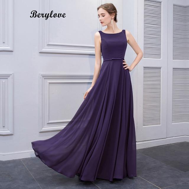 a2106a725053 BeryLove Simple Purple Long Prom Dresses Styles Chiffon Evening Dresses  Open Back Formal Evening Gowns Elegant Women Party Dress