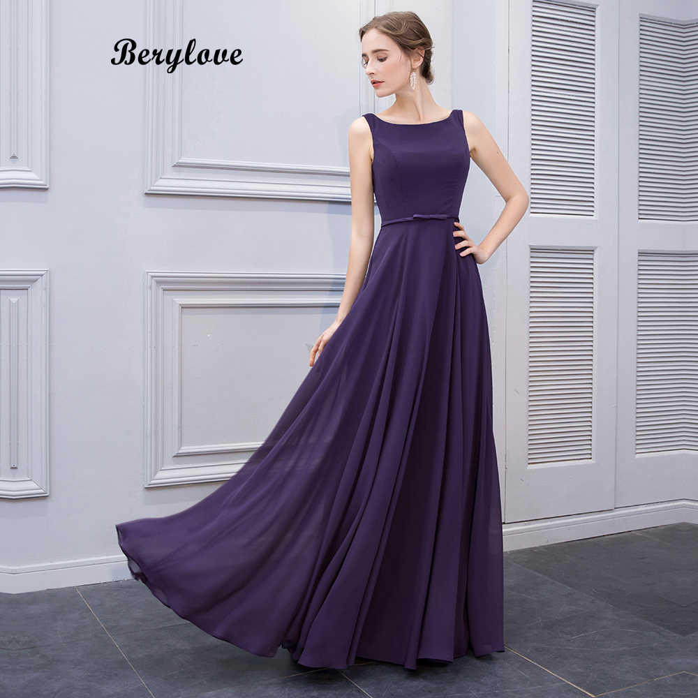 BeryLove Simple Purple Long Prom Dresses Styles Chiffon Evening Dresses  Open Back Formal Evening Gowns Elegant cb56cea99eef