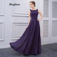 BeryLove Simple Purple Long Prom Dresses Styles Chiffon Evening Dresses Open Back Formal Evening Gowns Elegant Women Party Dress