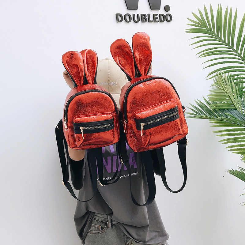 9bfa6101bea1 Подростковый Mochila Новый Кролик уши мультфильм женский рюкзак с блестками  мини рюкзак женский маленький рюкзаки для