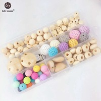Let's Make Woolen Yern Beads Teething Necklace Set Silicone Beads Nursing Necklace Hexagon Silicone Beads Wooden Teeher Beads