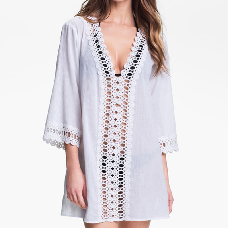 <font><b>Fashion</b></font> <font><b>Women</b></font> <font><b>Beach</b></font> Crochet V-neck <font><b>Dress</b></font> <font><b>Sexy</b></font> Beachwear Bikini Cover Ups Cotton <font><b>Summer</b></font> Hollow Sundress FI-19ING image