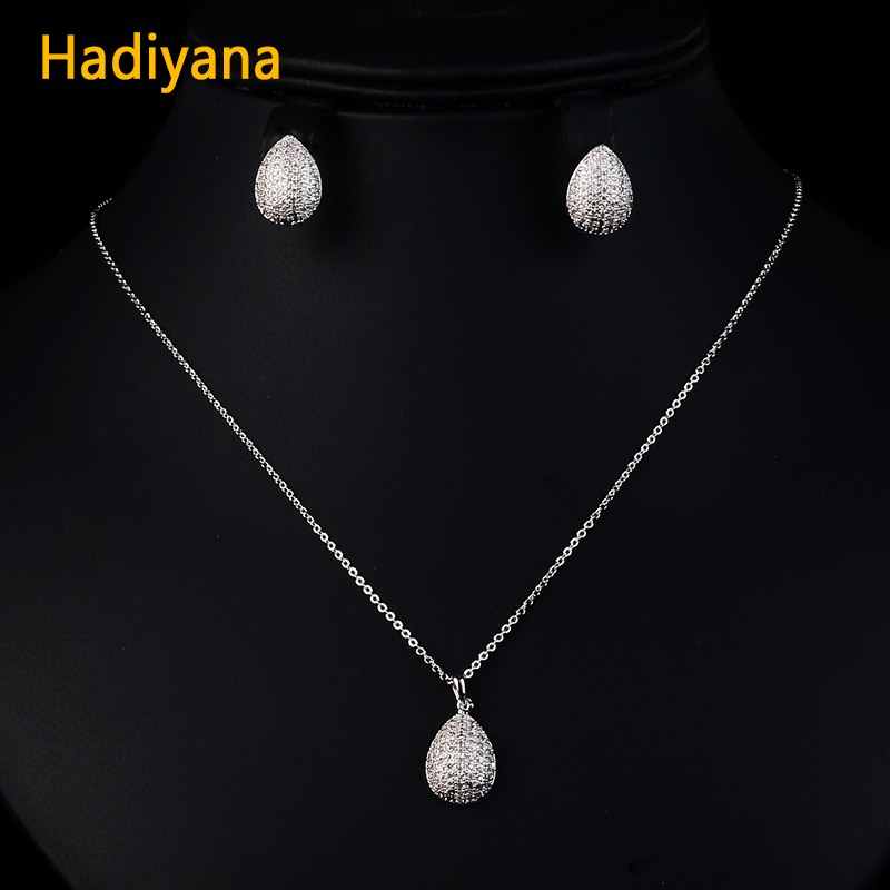 Hadiyana Elegent Copper Earings Fashion Jewelry Set With Tiny Zircons 2018 Fashion Pendant Necklace&earring Sets For Women CN229