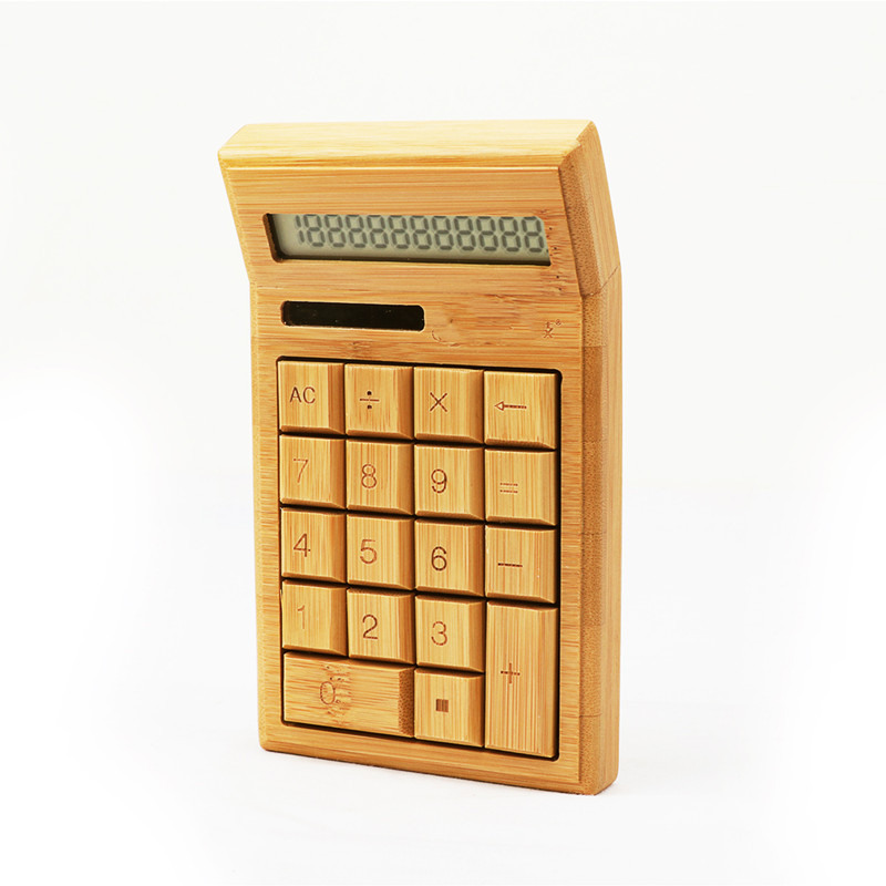 Bamboo Calculator 12 Digit LCD Display Office School Special Gift Christmas Calculate Commercial Tool Battery Solar Powered