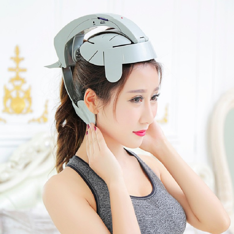 Electric Head Vibration Massager Helmet Scalp Brain Relaxation Acupuncture Points For Stress Relax Sleep Quality Health