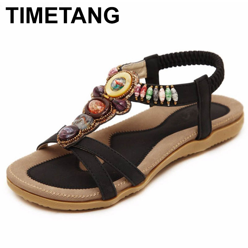 TIMETANG Bohemia women sandals fashion shoes women summer style women shoes flats flip flops plus size free shipping C062 goxpacer arrival fashion sandals rhinestone flats bohemia women summer style shoes women flat flip flops plus size 35 41