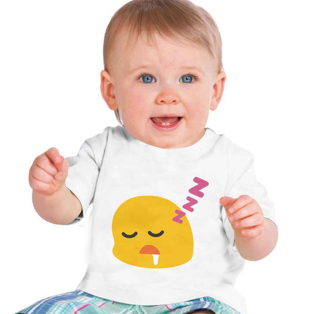 emoji sleep face infant baby clothing short sleeve kids t shirt