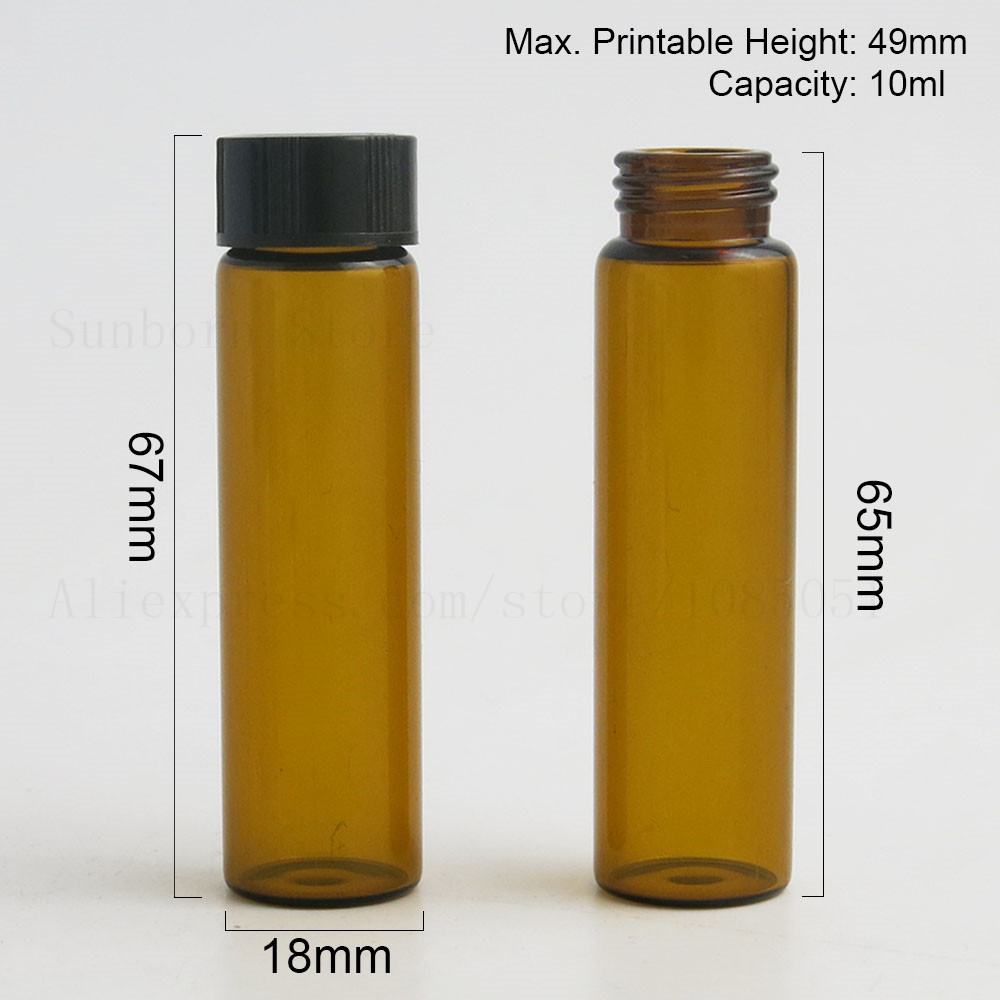 Купить с кэшбэком 10ml 10cc Amber Clear Screw Neck Glass Bottles With Plastic Cap Transparent Brown Glass Vials 1/3oz Containers 50pcs