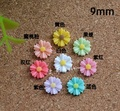 Free Shipping 50 Pcs mix color Daisy Flower Resin Flatback Cabochon Scrapbook Embellishment DIY Phone Decoration 9mm Dia