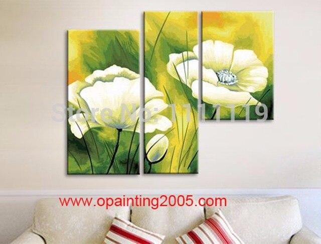 US $34.0 50% di SCONTO|Dipinto a mano Quadri Moderni Su Tela Gruppo Di  Dipinti Ad Olio Handmade Living Room Decor Wall Art Decor Fiori Dipinti di  Loto ...
