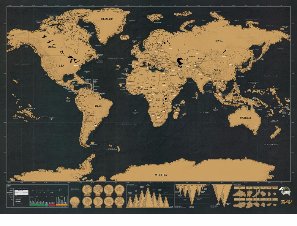 Aliexpress buy classic black deluxe travel world map poster now scratch off and record the amazing places you have visited around the world using the classy and stylish scratch map deluxe edition gumiabroncs Choice Image