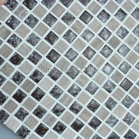 Natural Marble Stone Mix Ice Crack Glass Mosaic <font><b>tiles</b></font>, Kitchen Back Splash, Wall <font><b>Tiles</b></font>, Floor Mosaic, Free Shipping,