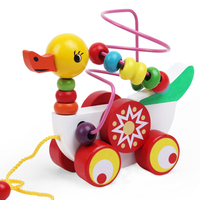 Duck Around Beads Toy Baby Wooden Toys Duckling Trailer Mini Around Beads Educational Game Toys For