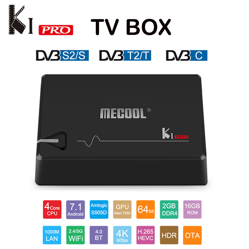 Mecool DVB T2 Android 7 1 Smart TV Box KI PRO DVB S2 DVB C Amlogic