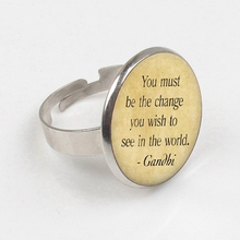 2019 Mahatma ring The Change You Wish To See In The World ring Gandhi print glass ring gandhi mahatma third class in indian railways