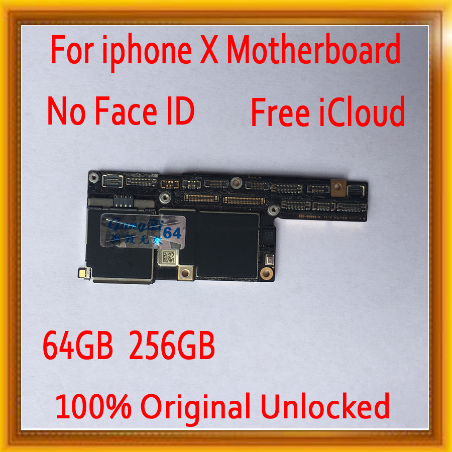 100% Original unlocked for iPhone X Motherboard without Face ID,Clean iCloud for iphone X Mainboard with IOS System,64GB 256GB100% Original unlocked for iPhone X Motherboard without Face ID,Clean iCloud for iphone X Mainboard with IOS System,64GB 256GB