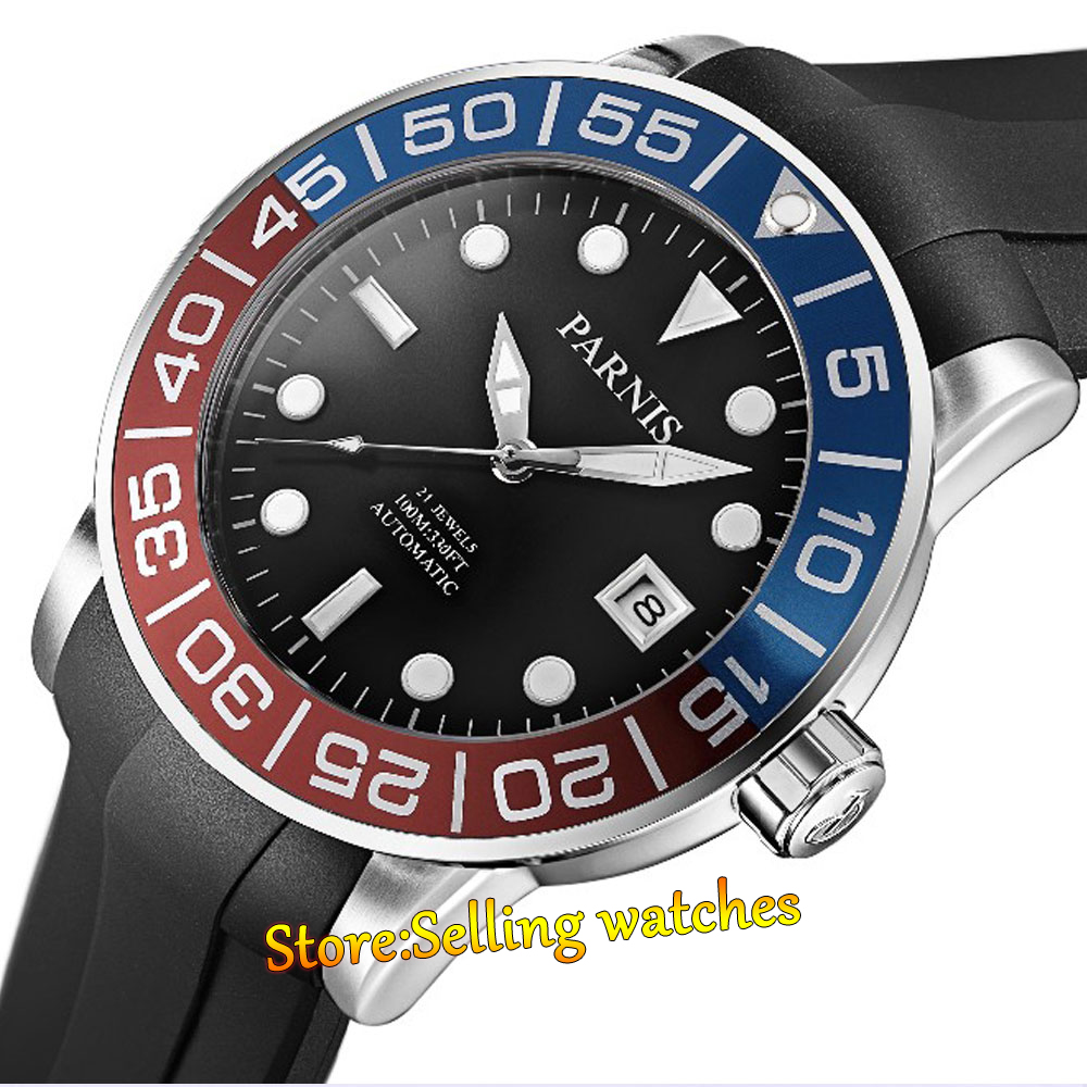 42mm Parnis Sapphire Red Blue Rotating Bezel Automatic Watch Luminous Number цена