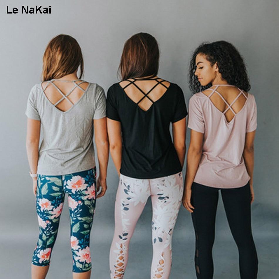 Le NaKai Sexy backless women yoga shirt fitness cross back short sleeve yoga top workout sports breathable open back top shirt