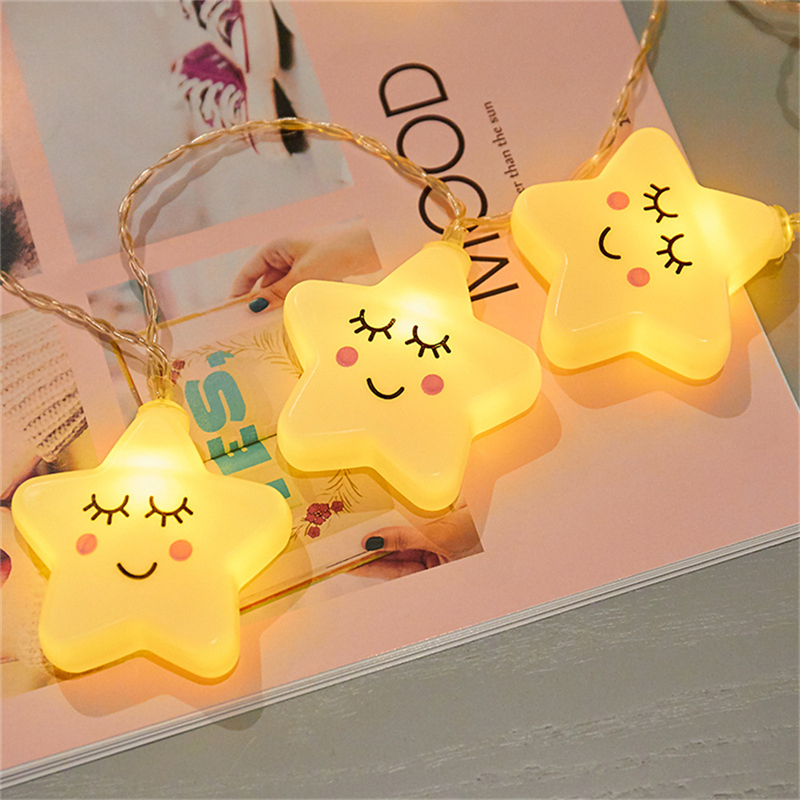 3M 20 LEDs Garland Smile Stars String Lights Gift For Kids Children Decoration For Room Party New Year Christmas Tree On Battery