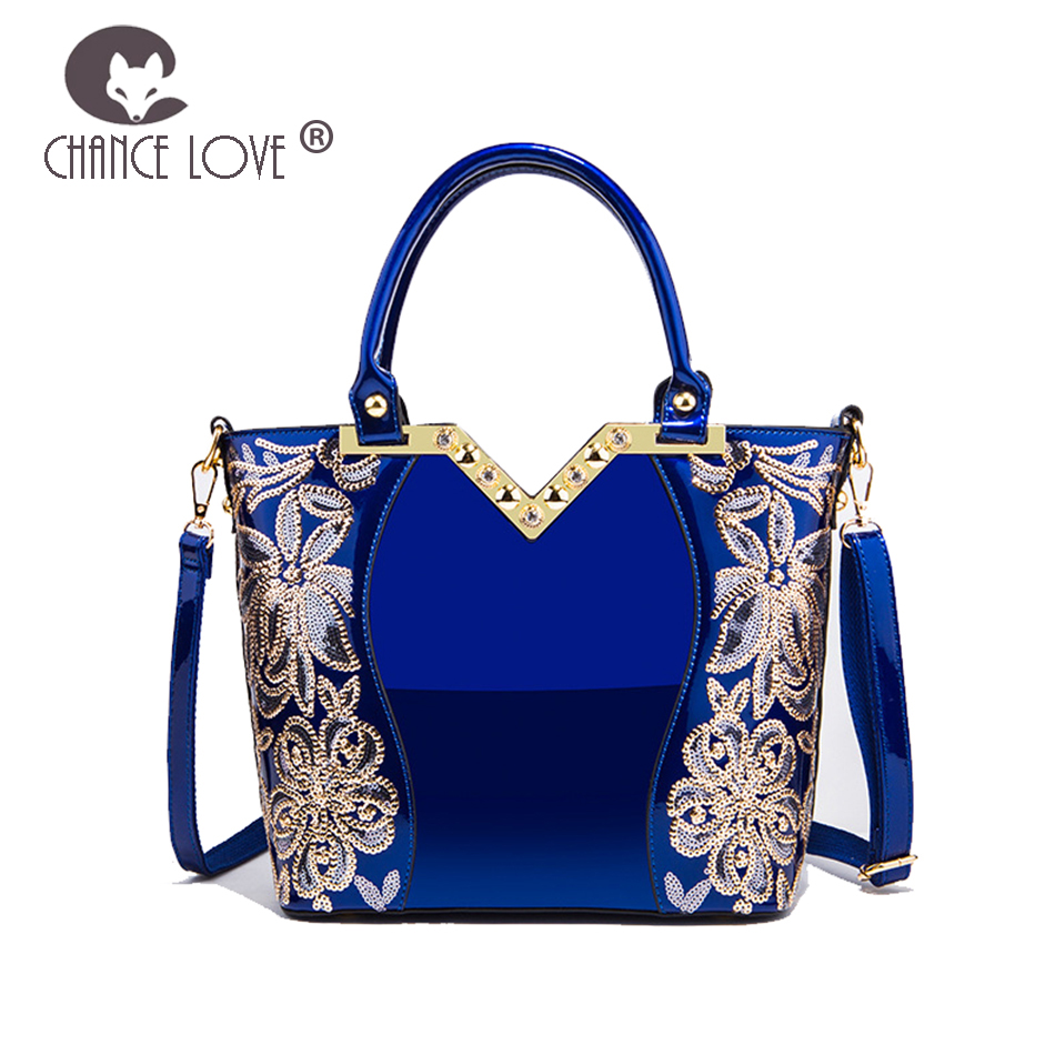 Chance Love 2018 new female bag Casual tote Bright patent leather Handbag fashion women Sequin blue gold shoulder Messenger bag chance love bag female women 100