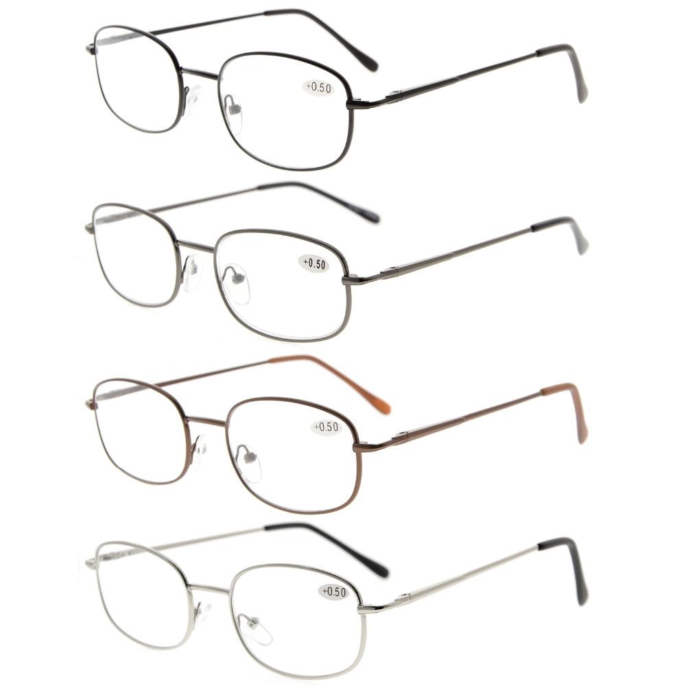 Eyekepper 4-pack r3232 metal frame primavera articulada braços óculos de  leitura pacote de 4 pares + 0.50 ---- + 4.00 0a98e6dbc6