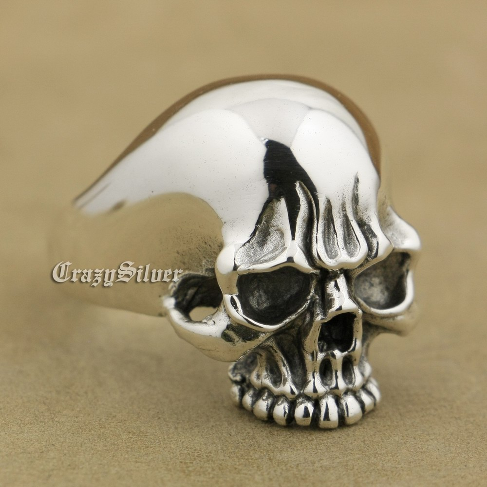 LINSION 925 Sterling Silver High Polish Mens Biker Punk Skull Ring TA34 US Size 7~15 925 sterling silver high details skull ring mens biker punk ring ta118a us 7 15