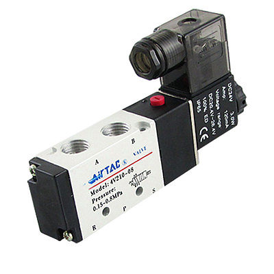 4V210-08 1/4 DC 12V/24V AC 24V/36V/110V/220V/380V 5 way 2 position Pneumatic Electric Solenoid Valve BSP Air Aluminum 4v220 08 pneumatic valve 12v 24v 110v 220v dc 1 4 2 position 5 way air solenoid valve
