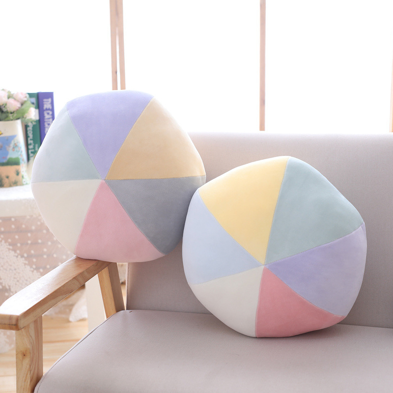 Cilected Multicolor Ball Pillow Fashion Plush Round Toy Living Room Bedroom Sofa Cushion Office Nap Pillow Home Decoration 35CM