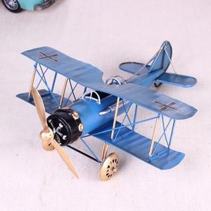 Image 5 - Vintage Metall Flugzeug Hause Ornamente Flugzeug Modell Spielzeug Für Kinder Flugzeug Miniatur Modelle Retro Kreative Wohnkultur