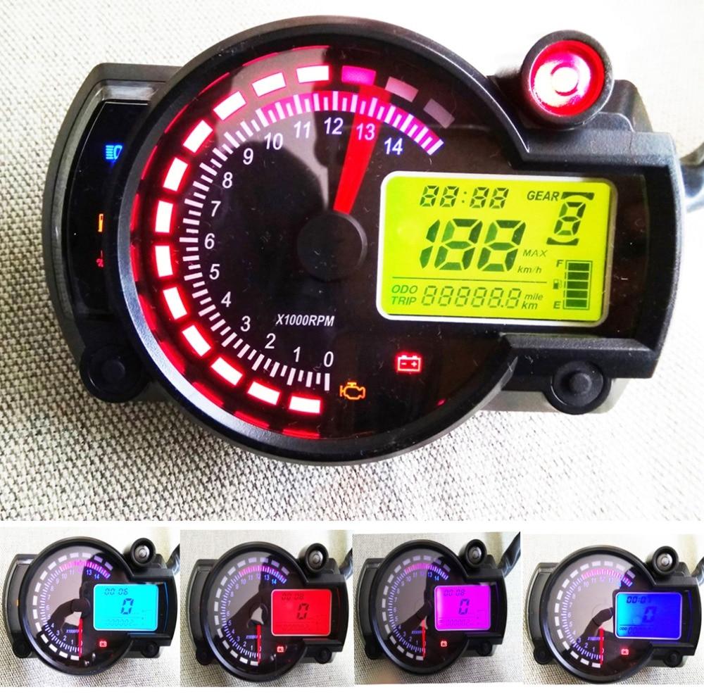 Black Universal 15000 RPM 299 KMH MPH Odometer Speedometer Tachometer Motorcycle 8-22 inch wheel adjust for HONDA,SUZUKI,KAWASAKI,YAMAHA etc.