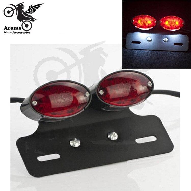 double indicator motorbike cruise part motorcycle brake light with bracket for Harley Davidson LED license plate moto tail light