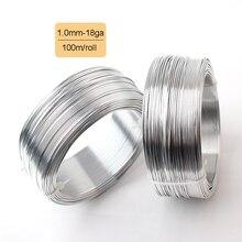 100 м 1,0 мм 18 калибр Серебряный анодированный алюминиевый мягкий закаленный яркий металлический провод 109yd DIY ювелирное ремесло алюминиевая круглая проволочная катушка