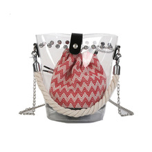 2019 Fashion 2pcs Bucket Handbags Pvc Clear Transparent  Bag Barrel Shaped Small Mini Handle Summer Beach Bags