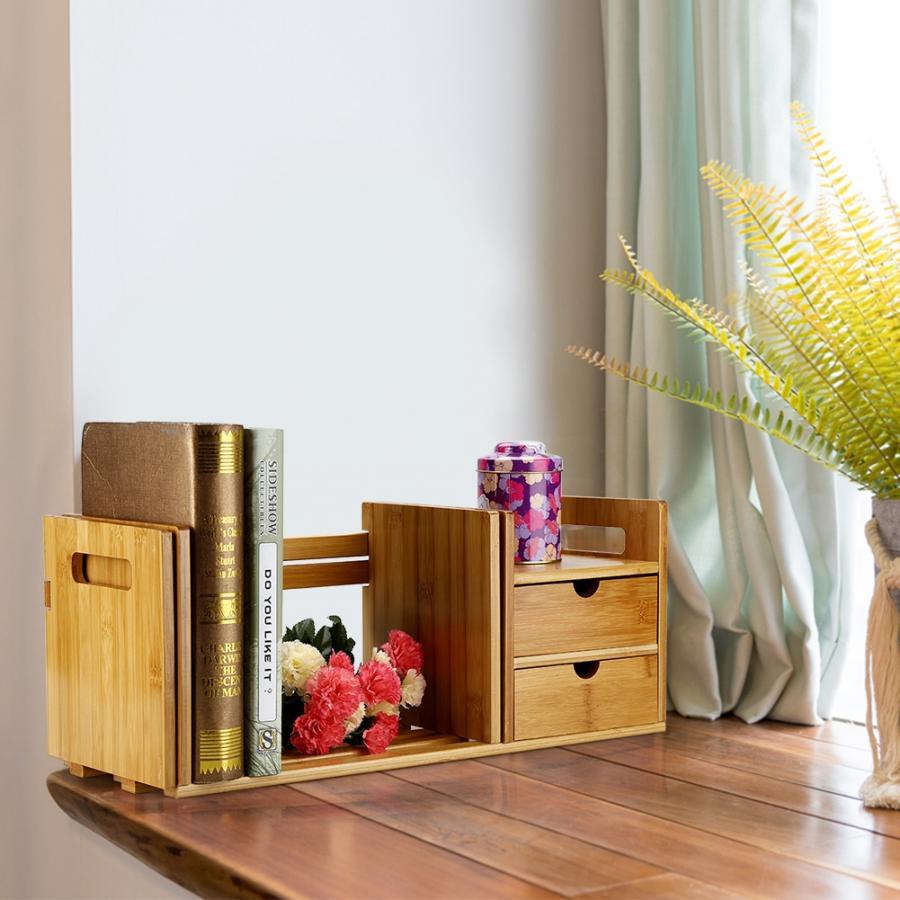 Bambus Holz Erweiterbar Schreibtisch Tabletop Buch Rack Bücherregale Bücherregal Organizer mit 2 Schublade Werkzeug
