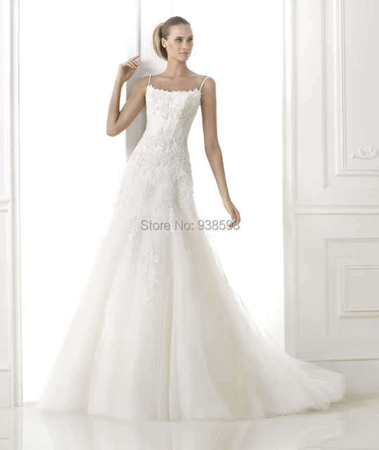 New Arrival Appliqued Lace Tulle Drop Waist Wedding Dress A Line ...