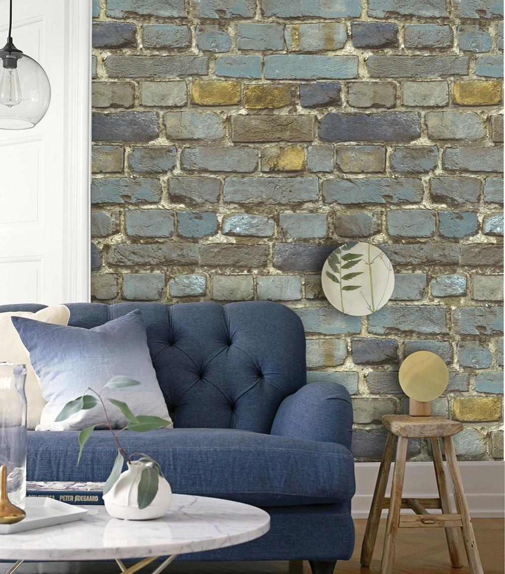 HaokHome Ziegel Tapete Rollen Blau/Gelb/Braun/Schwarz Distressed Wand Home  Küche Badezimmer Dekoration 20,8