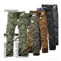 2016 nova Marca man Militar Camuflagem Do Exército Calças Cargo Plus Size Multi-bolso Macacão Casuais Calças de Camuflagem Ao Ar Livre Dos Homens