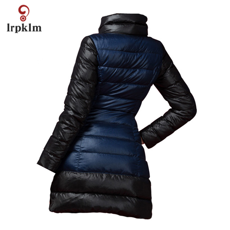 2017 New Fashion Women Winter Middle Long   Down   Jackets High Collar Female Warm Duck   Down     Coat   Slim PQ136