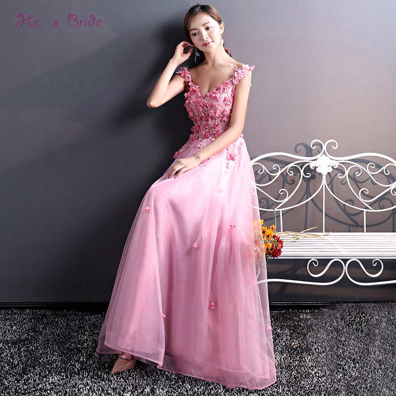 He s Bride Pink New Elegant Evening Dresses Appliques V-neck A-line  Sleeveless Floor b10012f94b04